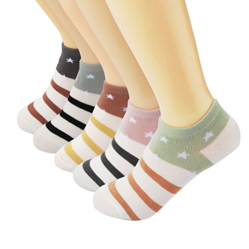 Vxock Womens Ankle Running Athletic No Show Low Cut Crew Cotton Socks Multicolor-5 Pack