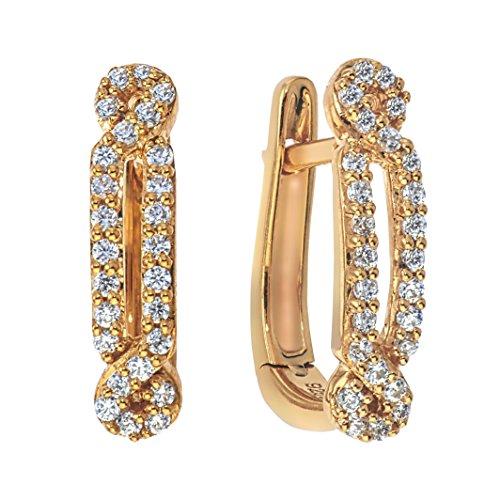 Diamond Hoop Earrings 1/4 ct tw in10K Yellow Gold ()