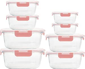 8 Pack Glass Meal Prep Containers, Airtight Glass Lunch Storage Containers with Lids for Food Storage, 100% Leak Proof - Fridge to Oven, Microwave Safe - Pink Set