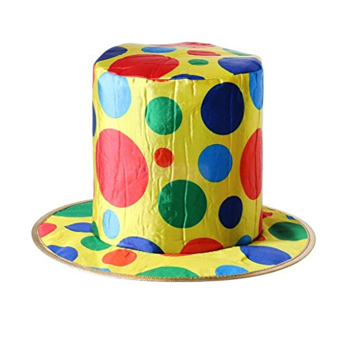 JUNGSON--Adult Woman Man Polka Dot Top Hat Clown Circus Halloween Fancy Dress (Adult Elegant Coffin)