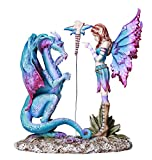 Fantasy Fairy Lecturing Bad Dragon Statue by Artist Amy Brown Tabletop Decorative Accent