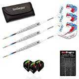 Red Dragon Peter Wright Snakebite PL15 Tungsten Steel Darts with Flights, Shafts, Wallet & Red Dragon Checkout Card