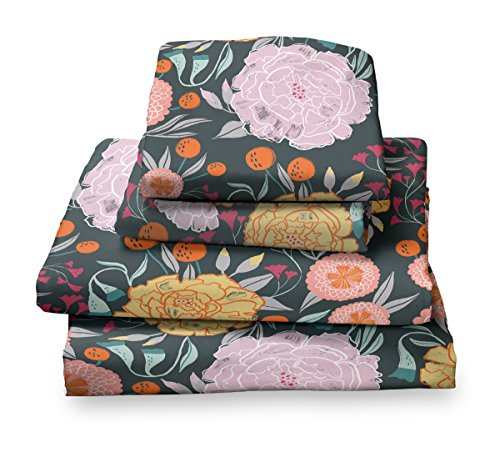 Twin Sheet Set Floral Print in Pink, Gray, Seafoam Green, Teal and soft Gold - Double Brushed Ultra Microfiber Luxury Bedding Set (Flat Vintage Sheet)