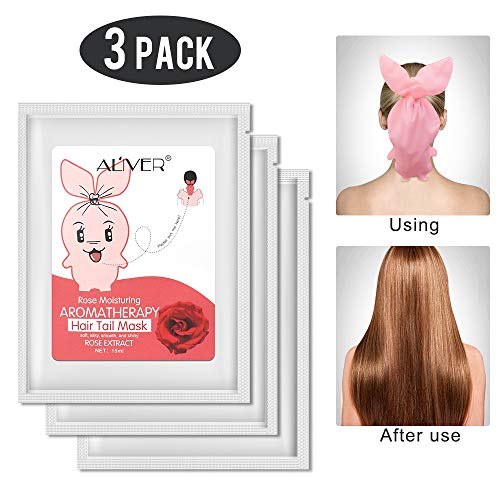 Hair Tail Mask 3 Pack,Hydrating Hair Mask Deep Conditioning Mask, Intense Hydration for Those with Dry, Damaged, Chemically Treated or Lifeless Hair (Rose)