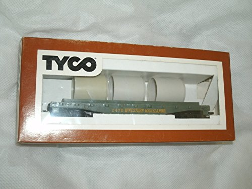Western Flat Car - Tyco Vintage 1975 HO Scale Western Maryland 342B Skid Flat Car with Culvert Pipe Load