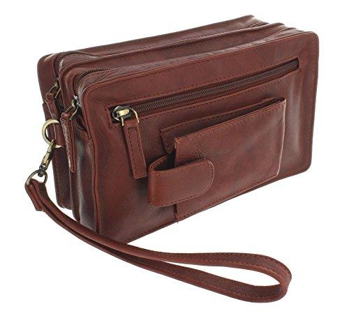 Visconti Bolsa de pulsera de cuero suave con correa desmontable 18233 Brown marrón