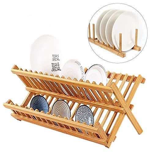 miyare(《미야레》) (dish)디시 lak 접시 랙 물 건조대 접이식 접시꽂이 수납 플레이트 접시 스탠드 대나무제품 (그릇)