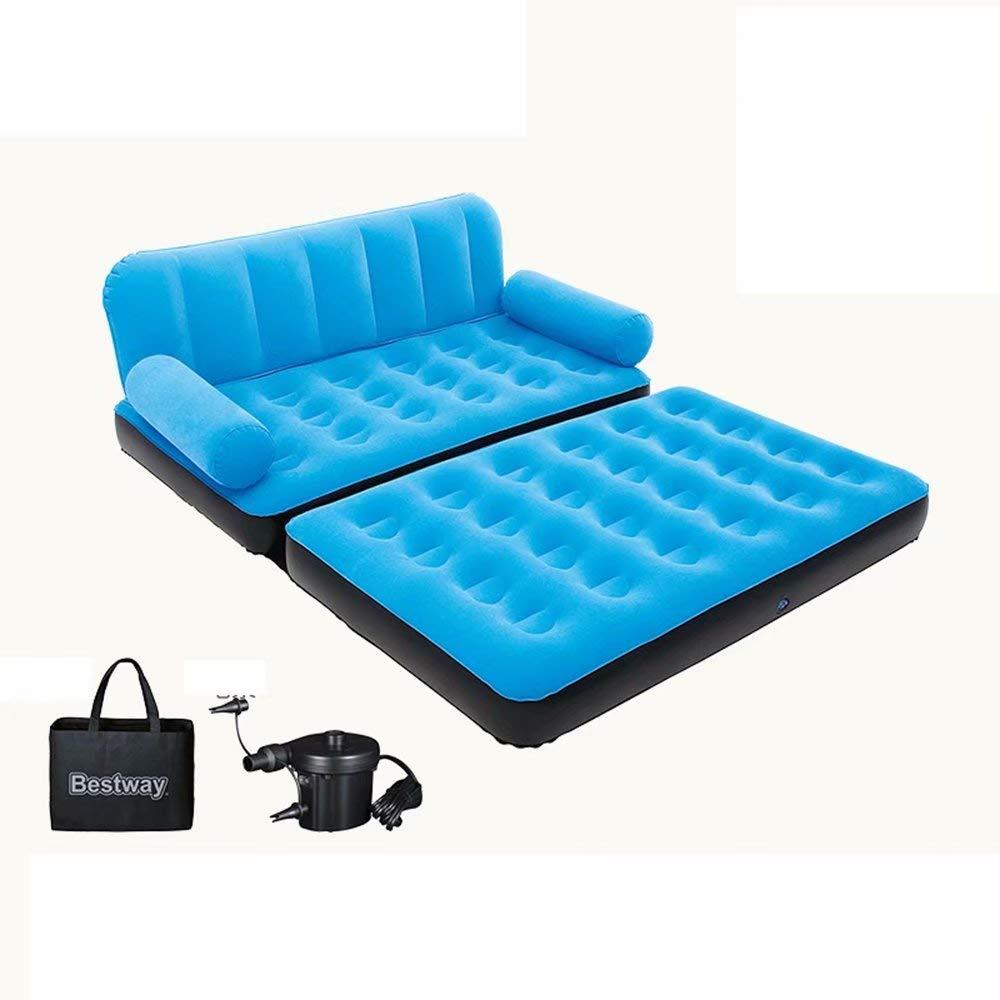 GG-Inflatable bed Sofá-Cama Inflable 2-en-1, Tela Sofá Inflable pequeño Dormitorio Azul + Azul Cama Plegable