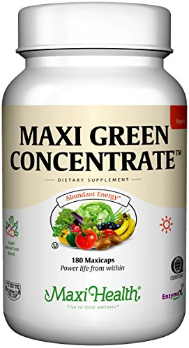 Barley Grass Capsules (Maxi Health Green Concentrate - Organic Energy Booster - Barley Grass - 180 Capsules - Kosher)