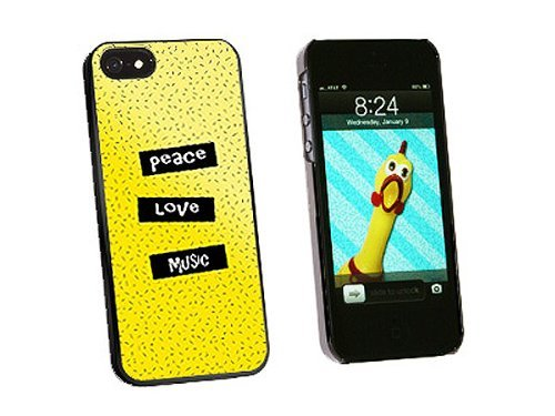 Graphics and More Peace Love Music Snap-On Hard Protective Case for iPhone 5/5s - Non-Retail Packaging - Black