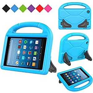 Kids Case for Kindle Fire HD 8 2017, MENZO Light Weight Shockproof Silicone Handle Stand Kids Friendly Case for Fire HD 8 inch (2017 released), Blue