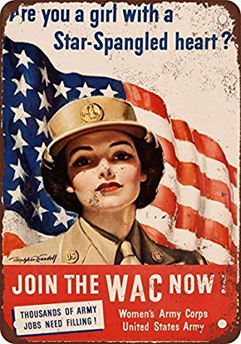(Houseuse 1943 Women Join The WAC Now Vintage Look Reproduction Metal Tin Sign 12X16 Inches)