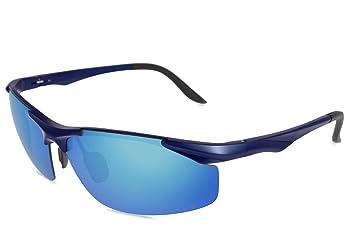 fawova Gafas Running Hombre con Aluminio Ultraligero, Gafas Sol Deportivas Polarizadas con Espejo Azul para