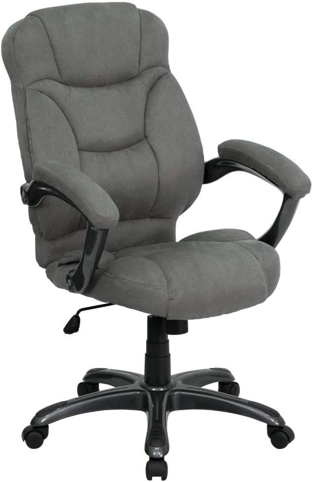 Flash Furniture High Back Gray Microfiber Contemporary Executive Swivel Ergonomic Office Chair with Arms