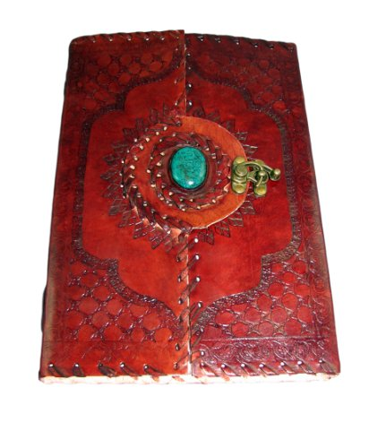 Handmade Leather Journal with Parchment Paper, Clasp  Polished Stone (10×7) Pendragon Series By Viatori