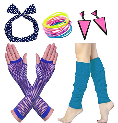 Janestone 80s Outfit Costume Accessories Fishnet Gloves Leg Warmers Headband (80's Costume Ideas With Leggings)