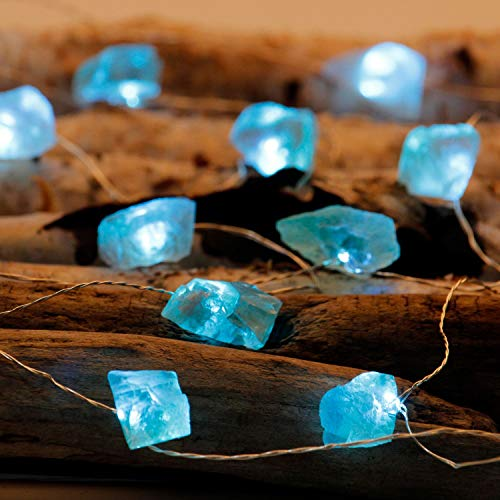 Impress Life Raw Fluorite Stone String Lights, Nature Decoration with Remote Control 10 feet 30LEDs for Covered Outdoor Valentine Day, Mental Peace Christmas Party Present (Turquoise Lighting)