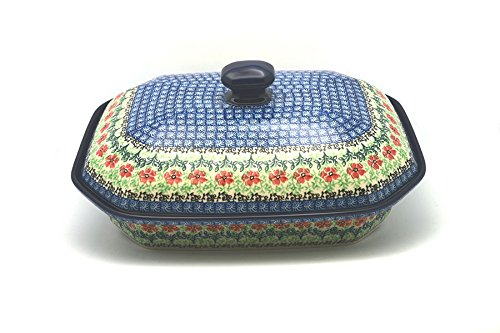 (Polish Pottery Baker - Rectangular Covered - Large -)