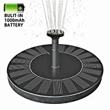 B2COOL Solar Bird Bath Fountain Pump, Built-in 1000mAH Battery 1.5W Free Standing Outdoor Birdbath Watering Submersible Pumps Panel Kit for Garden and Patio/Pond, Pool, Garden,Fish Tank