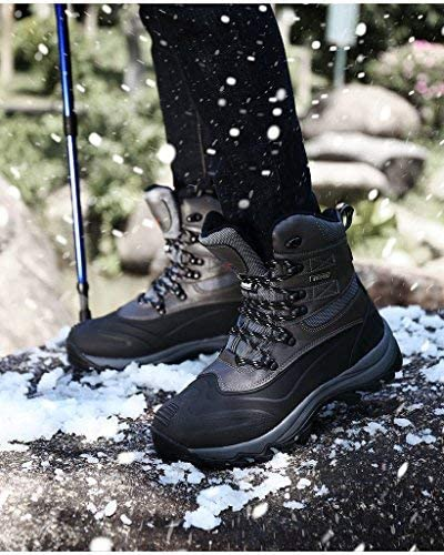 NORTIV 8 Men's Insulated Waterproof Construction Rubber Sole Winter Snow Ski Boots