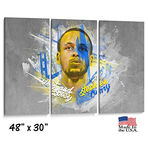 (lagifi Three Panel Split Canvas Wrap - Steph Curry Warriors Basketball -Golden gate Bridge- Office or Home Wall Decor -1.5