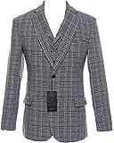 auguswu Grey Wool Plaid Mens Two Button 3 Picec Business Suit Pants Sets 35R