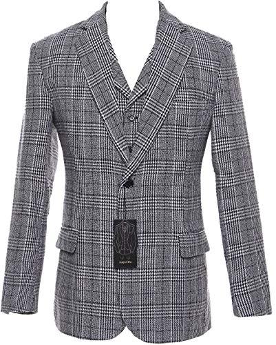 auguswu Grey Wool Plaid Mens Two Button 3 Picec Business Suit Pants Sets 46R