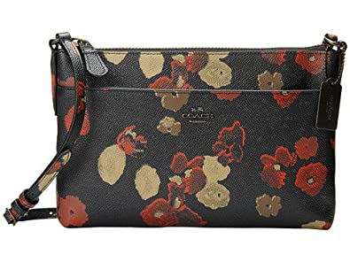 Amazon.com COACH Floral Embossed Leather Swingpack With Pop-Up Pouch In Black / Multicolor ...