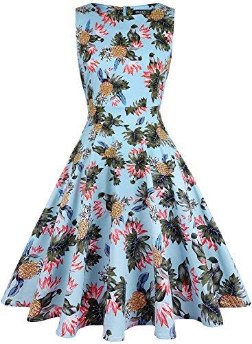 (OWIN Women's Vintage 1950's Floral Spring Garden Picnic Dress Party Cocktail Dress)