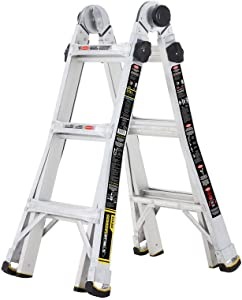 Tricam Gorilla Ladders 14 ft. Reach MPX Aluminum Multi-Position Ladder with 375 lb. Load Capacity Type IAA Duty Rating