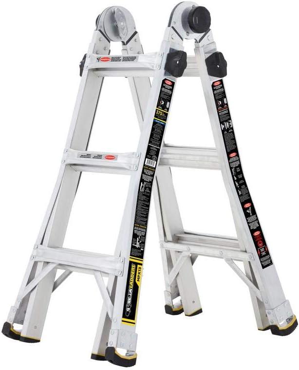 Tricam Gorilla Escalera de 14 pies alcance MPX aluminio multiposición con 375 lb. Capacidad de carga tipo IAA clasificación de servicio: Amazon.es: Bricolaje y herramientas