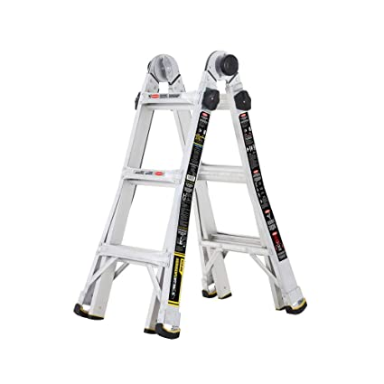 Tricam Gorilla Ladders 14 ft  Reach MPX Aluminum Multi-Position Ladder with  375 lb  Load Capacity Type IAA Duty Rating