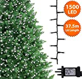 ANSIO Christmas Tree Lights 1500 LED 37.5m Bright White Indoor/Outdoor Christmas Lights Decorations Fairy String Lights Memory Timer Mains Powered 123ft Lit Length 10m/32ft Lead Wire Green Cable