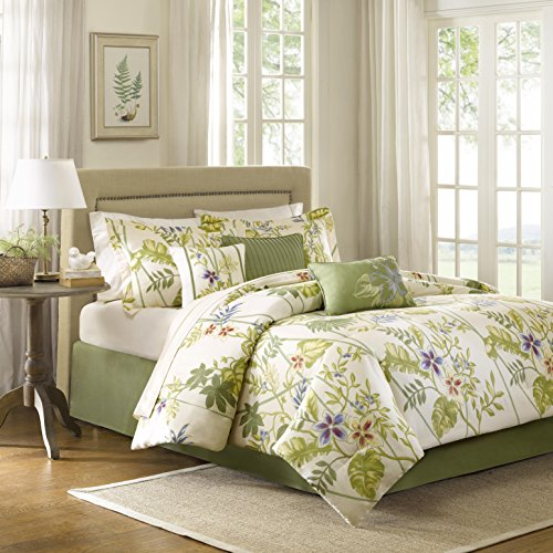 Madison Park Kannapali 7 Piece Comforter Set, Queen, Yellow - Comforter Sets Tropical