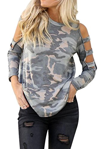 Camouflage Shirt Top (DUTUT Women's Sexy Cut Out Camouflage Top Cold Shoulder Long Sleeve T-Shirt Tunic Tops Size M (Gray))