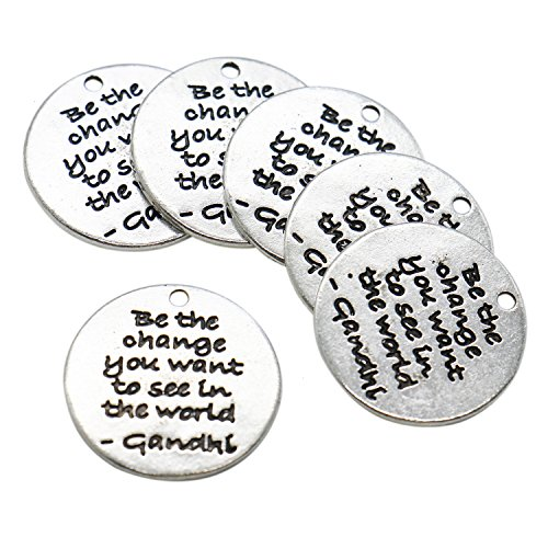 Buorsa 20 Pcs 24 mm kind wise compassionate true thankful happy Round DIY Antique Inspirational Message Charms Pendant for Making Bracelet and Necklace