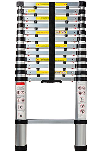 OxGord Aluminum Telescopic Extension Ladder (12.5 Ft Telescope) - EN131 Certified - Extendable Telescoping Extendable with Spring Load Locking Mechanism Non-Slip - 250 lb Max Capacity ()