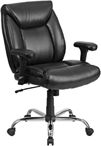 Flash Furniture HERCULES Series Big & Tall 400 lb. Rated Black LeatherSoft Deep Tufted Ergonomic Task Office Chair with Adjustable Arms
