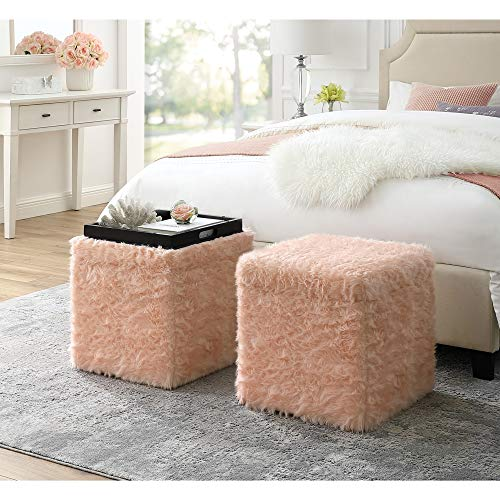 Inspired Home Blush Fur Ottoman – Design: Lily   Storage Space   Cube Shaped   Hidden Tray Top   Modern Design Review