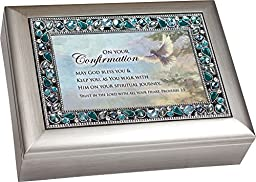 On Your Confirmation Day Brushed Silver Finish Jeweled Lid Jewelry Music Box Plays Tune On Eagle\'s Wings