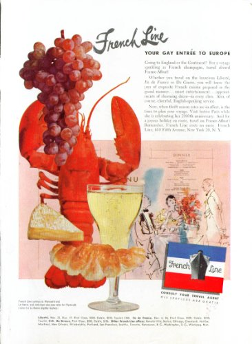 Europa Lobster - French Line Gay entrée to Europe lobster ad 1951