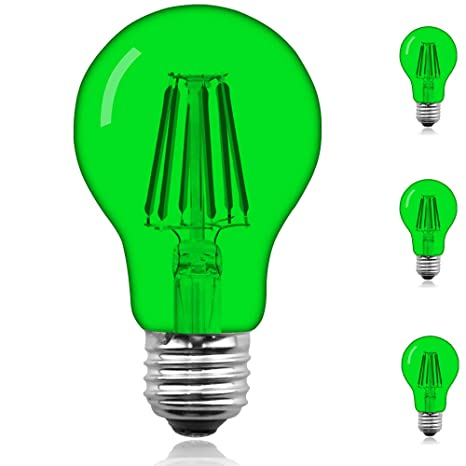 Klarlight 6 Watt Green LED Bulb Glass Filament A19 Green LED Bulb, Medium Base E26