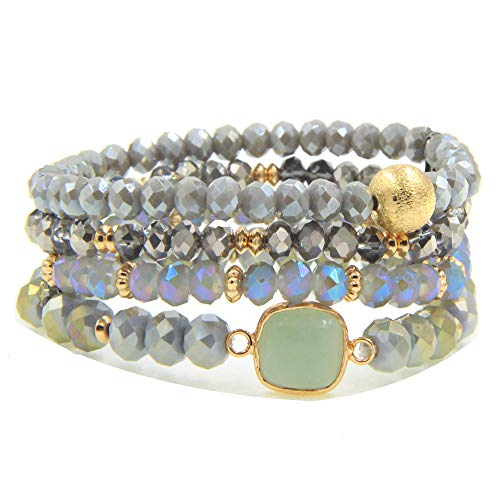 YUJIAXU Gold Beaded Bracelet Set, Square Stone Hexagon Druzy Stretch Beaded Stackable Bracelets Bangles GY ()