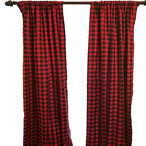 LGHome Buffalo Check Curtain Black and Red Window Treatment Plaid Panels for Kitchen, Living Room, 53x63inch, Pack of 2
