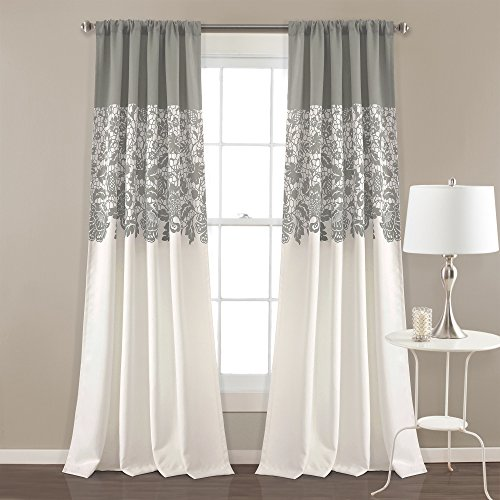 2 Piece Girls Sage Grey Jewel Floral Window Curtain 84 Inch Pair Panel Set, Light Gray Color Flower Printed Shabby Chic Hippy Bohemian Pattern Nature Window Treatment, Modern Luxury Stunning Polyester