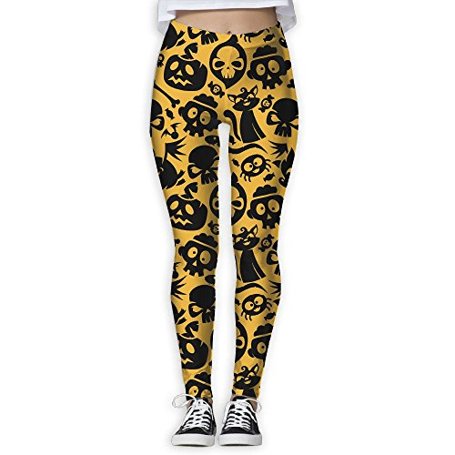 Women's Girl Halloween Cat Skull Candy Bone Spider High Waist Casual Leggings Tights Yoga Pants Running Pants Stretchy Sport Pilates Workout Long (After Halloween Candy Sale Best)