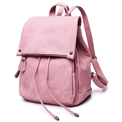 for Rucksack Babypink Drawstring Leather School Fashion Waterproof Shoulder Backpack Theft Bag Anti Purse Women TawcHOE0q