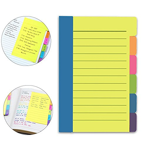 Euone Post-it Notes, Colorful Notes Assorted Neon Colors Sticky Notes with 60 Ruled Notes (Covers 11x14 Binding)