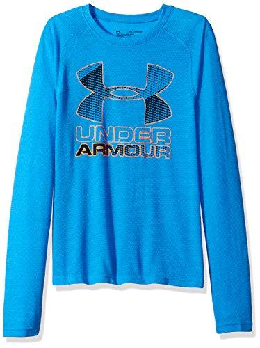 Under Armour Boys' Hybrid Big Logo Long Sleeve T-Shirt,Mako Blue (983)/Magma Orange, Youth X-Large ()