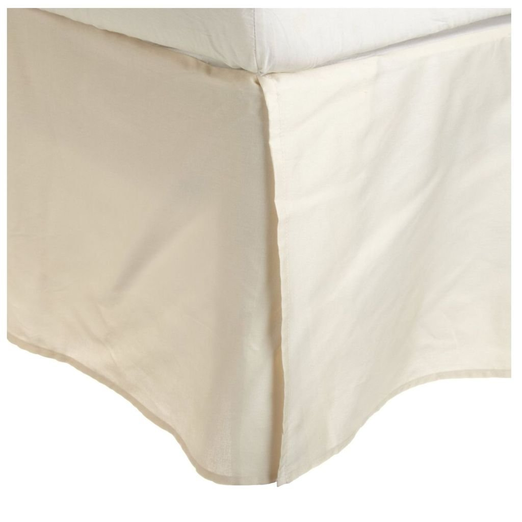 Superior 100% Premium Combed Cotton, Bed Skirt with 15'' Drop, Classic Pleated Sides and Split Corners to Accommodate Bed Posts, Ivory - King